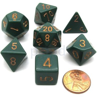Dusty Green with Copper Opaque Dice Set