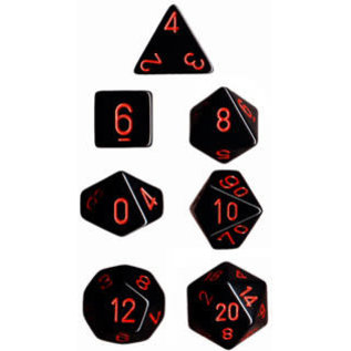 Black Red Opaque Dice Set