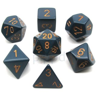 Dusty Blue with Copper Opaque Dice Set