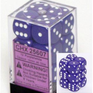 Purple White Opaque 16mm D6 Block (12)