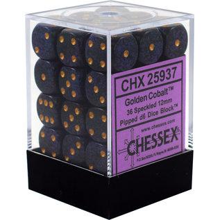 Golden Cobalt Speckled 12mm D6 Block (36)