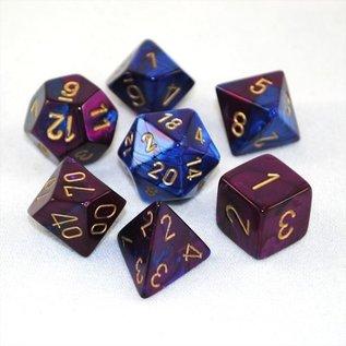 Blue & Purple with Gold Gemini Dice Set