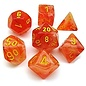 Ghostly Glow Orange with Yellow Dice Set