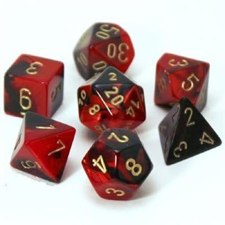 Black & Red with Gold Gemini Dice Set