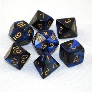 Black & Blue with Gold Gemini Dice Set