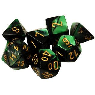 Black & Green with Gold Gemini Dice Set