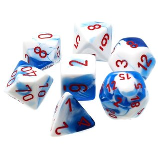 Astral Blue & White with Red Gemini Dice Set