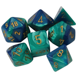 Blue & Teal with Gold Gemini Dice Set