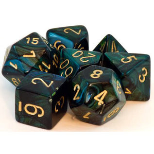 Jade with Gold Scarab Dice Set