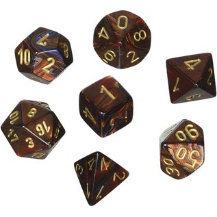 Blue Blood with Gold Scarab Dice Set