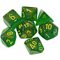 Maple Green with Yellow Borealis Dice Set
