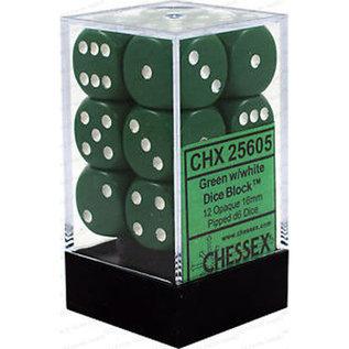 Opaque Green White 16mm D6 Block (12)