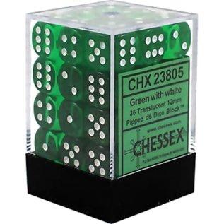 Green Translucent 12mm D6 Block (36)