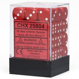 Red Opaque 12mm D6 Block (36)