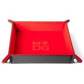 Velvet Leather Folding Dice Tray - Red 10 Inch