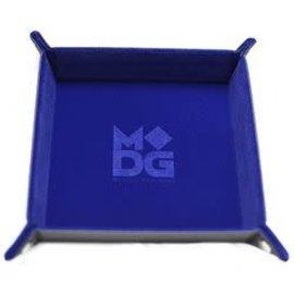 Velvet Leather Folding Dice Tray - Blue 10 inch