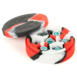 Red/Black/White Silicone Round Dice Case