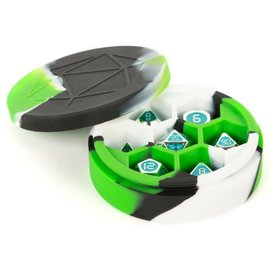 Green/Black/White Silicone Round Dice Case