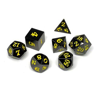 Easy Roller Dice Gunmetal Metal Dice - Yellow