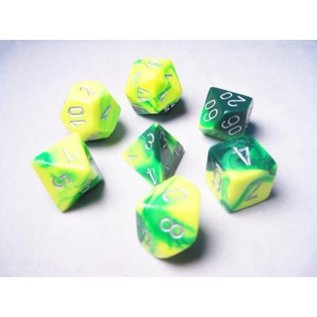 Green Yellow Silver Gemini Dice Set