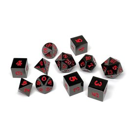 Easy Roller Dice Gun Metal Dice - Black Red 11 Set