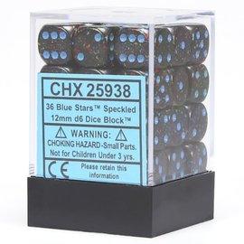 Blue Stars Speckled12mm D6 Block (36)