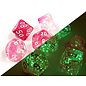 Gemeni Clear Pink White Dice Set