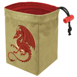 Fantasy Red Dragon Embroidered Dice Bag
