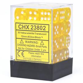 Yellow Translucent 12mm D6 Block (36)