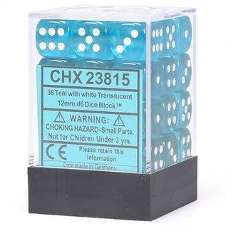 Teal Translucent 12mm D6 Block (36)