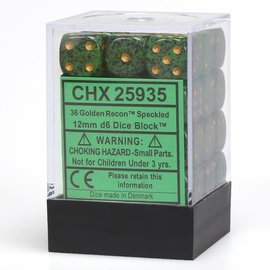 Golden Recon Speckled 12mm D6 Dice Block (36)