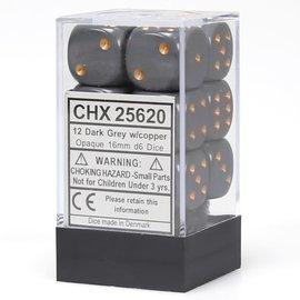 Dark Grey Copper Opaque 16mm D6 Block (12)