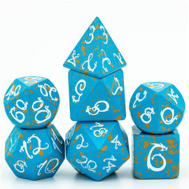 Goblin Dice Blue & Red Splatter Metal Dice