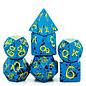 Goblin Dice Blue & Yellow Splatter Metal Dice
