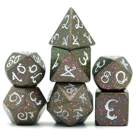 Goblin Dice Rainbow Splatter Metal Dice