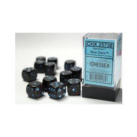 Blue Stars Speckled 16mm D6 Block (12)