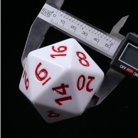 Goblin Dice White Opaque with Red Ink 55mm Mega D20
