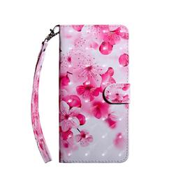 LG ÉTUI LG G8 fleurs roses porte-feuille