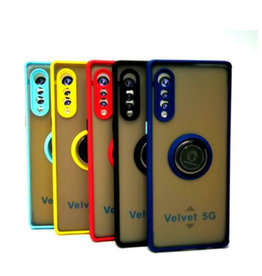 ÉTUI LG VELVET- Frosted Bumper Magnet Enabled Case with Ring Kickstand