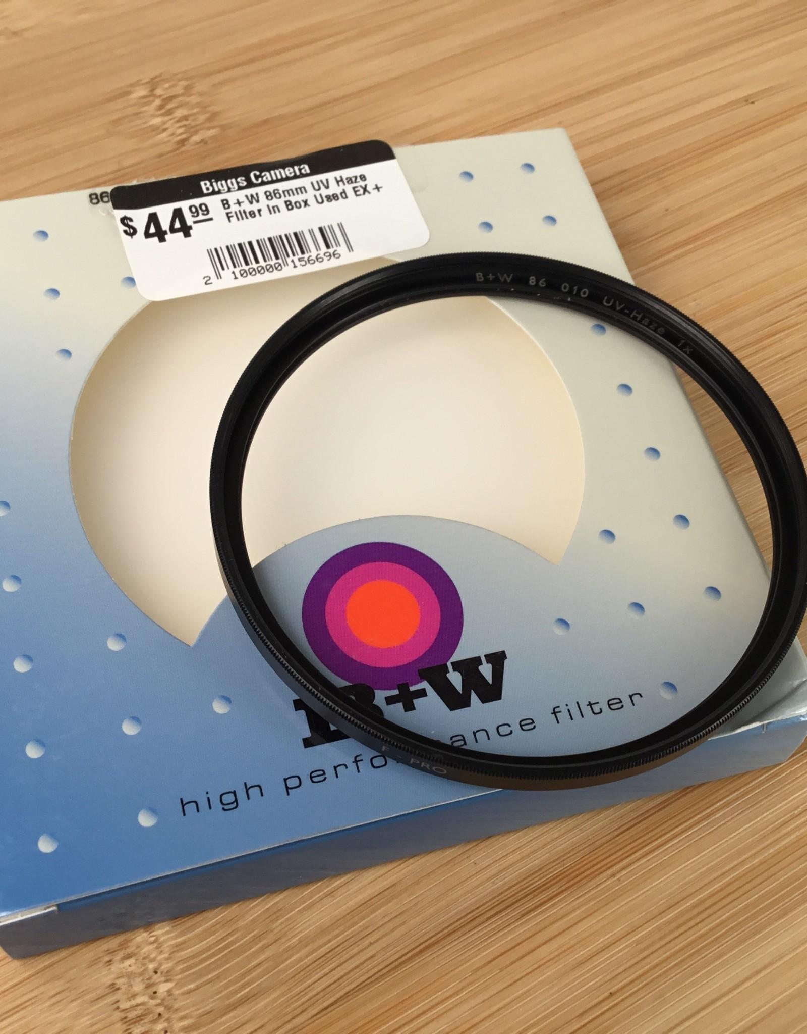 B+W 86mm UV Haze Filter in Box Used EX+