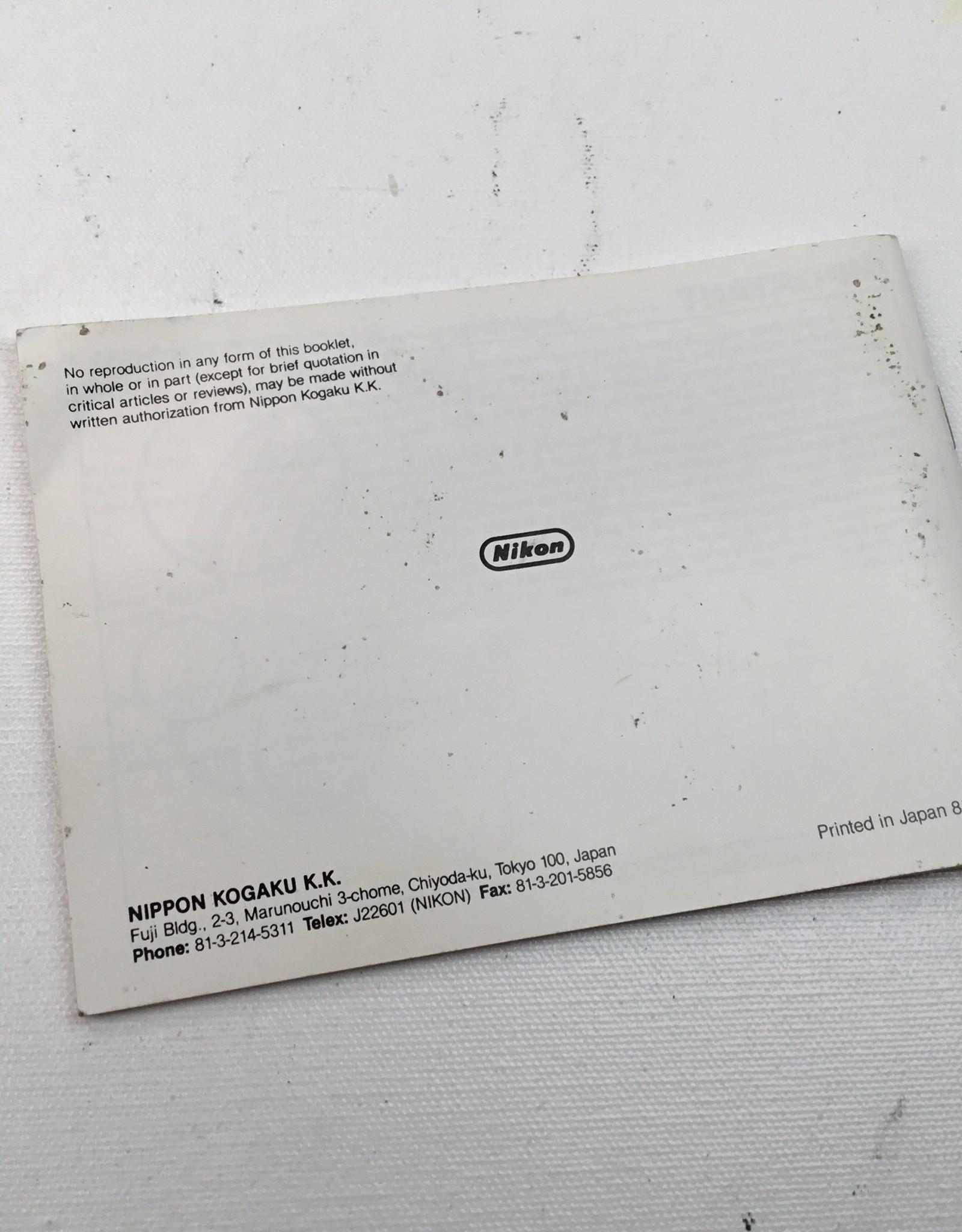 NIKON Nikon Manual for FG Camera Body Used EX