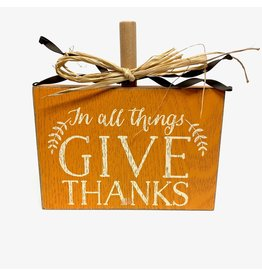 Mud Pie MP GIVE THANKS SIGN ORANGE