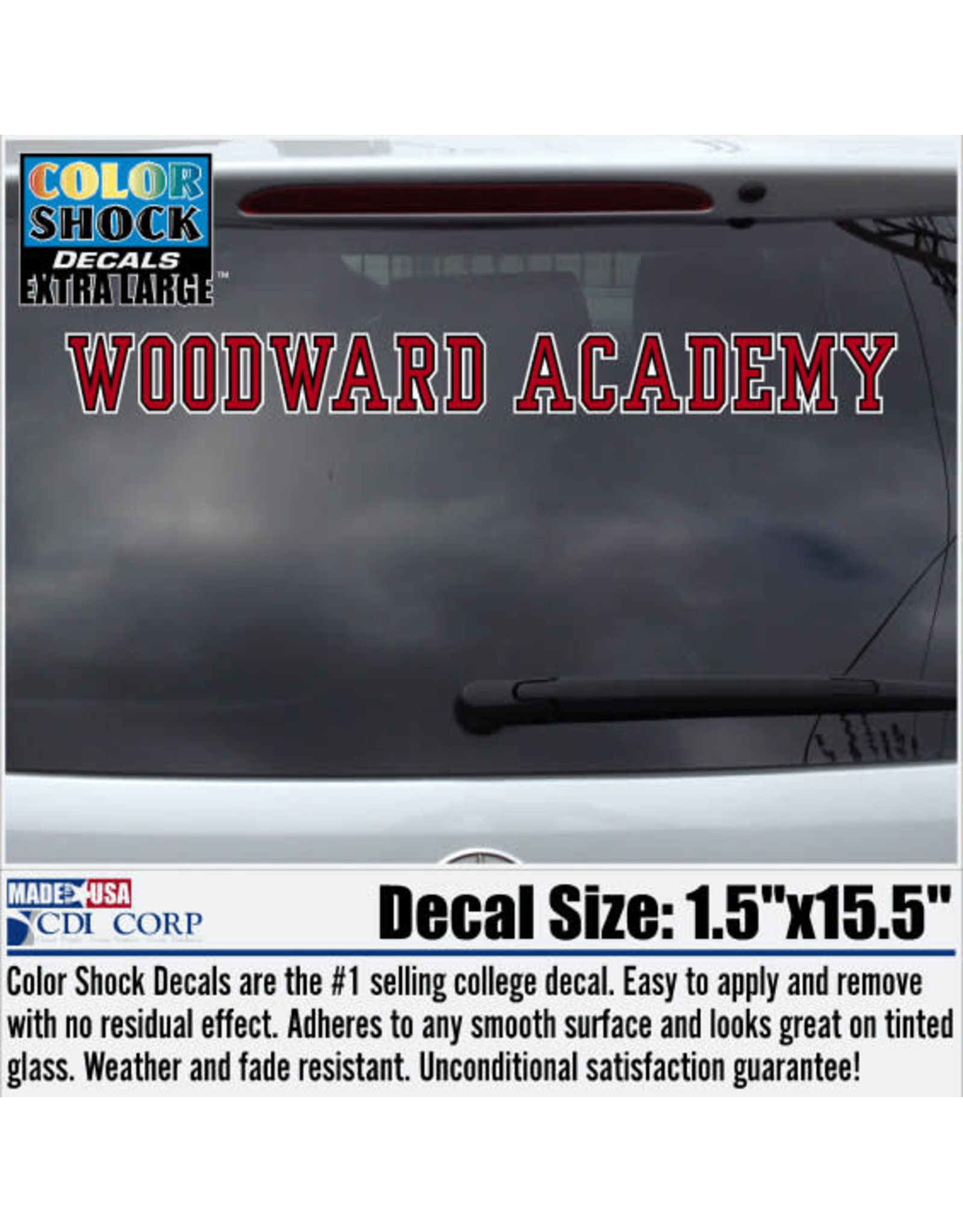 Color Shock WA Woodward Academy Long Decal
