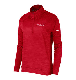 NIKE Ladies Dri-Fit Pacer 1/4 Zip Pullover in Red