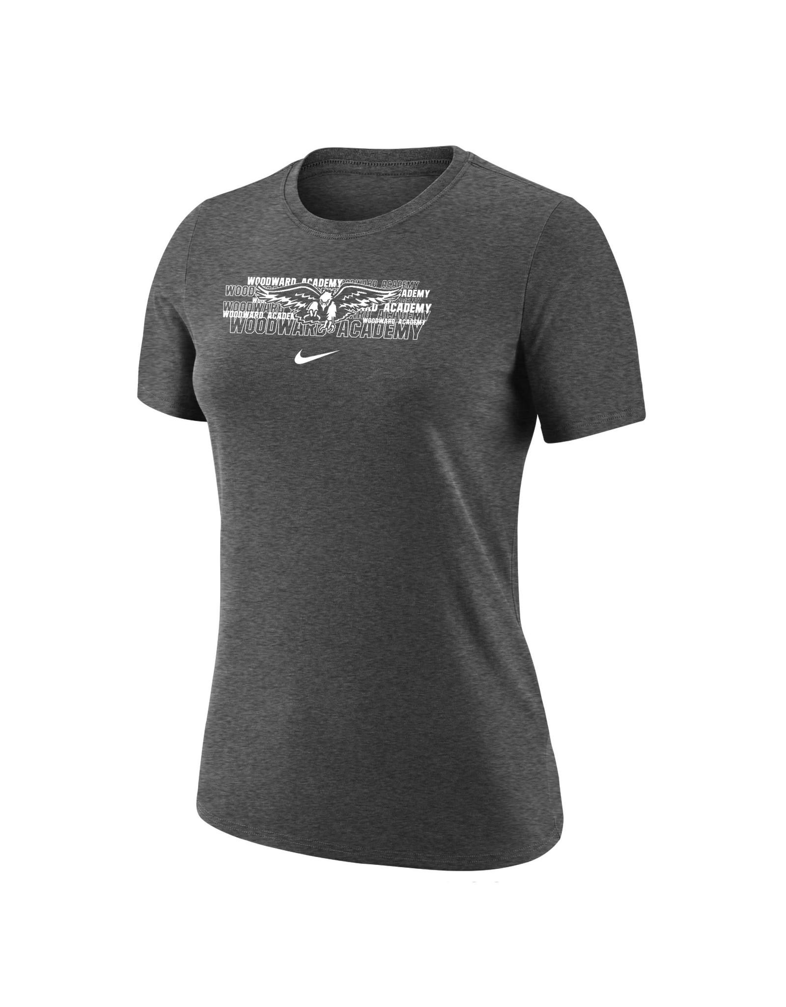 NIKE Ladies Dri-Fit Cotton SS T Shirt in Dark Heather
