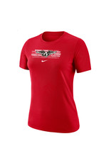 NIKE Ladies Dri-Fit Cotton SS T Shirt in Red