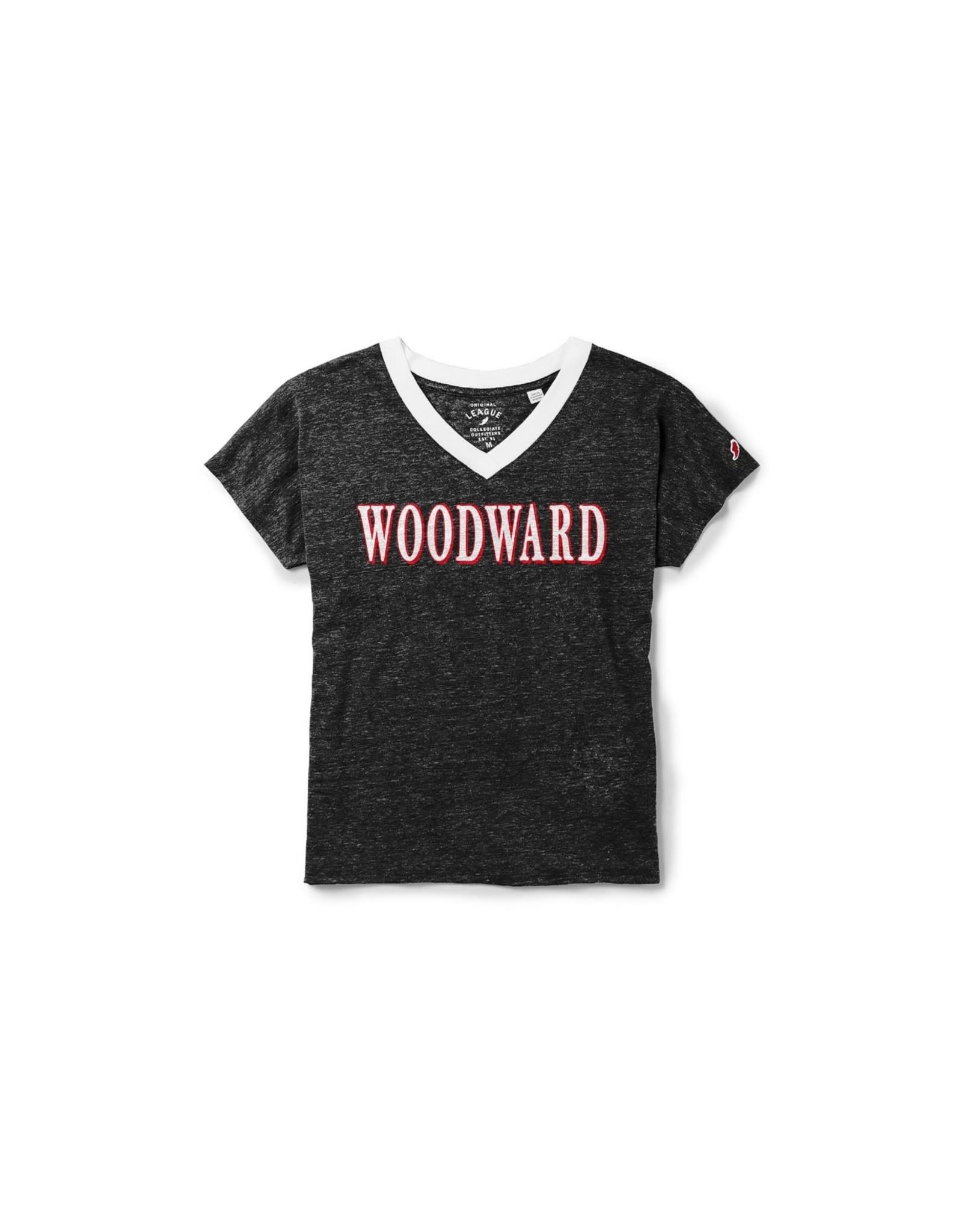 League Ladies V Neck Ringer T Shirt