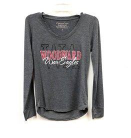 Campus Crew Ladies Tri Blend V Neck LS T Shirt