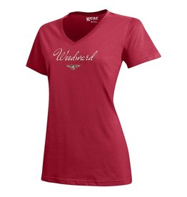 Gear for Sports Ladies Cotton SS V Neck Tee in Red