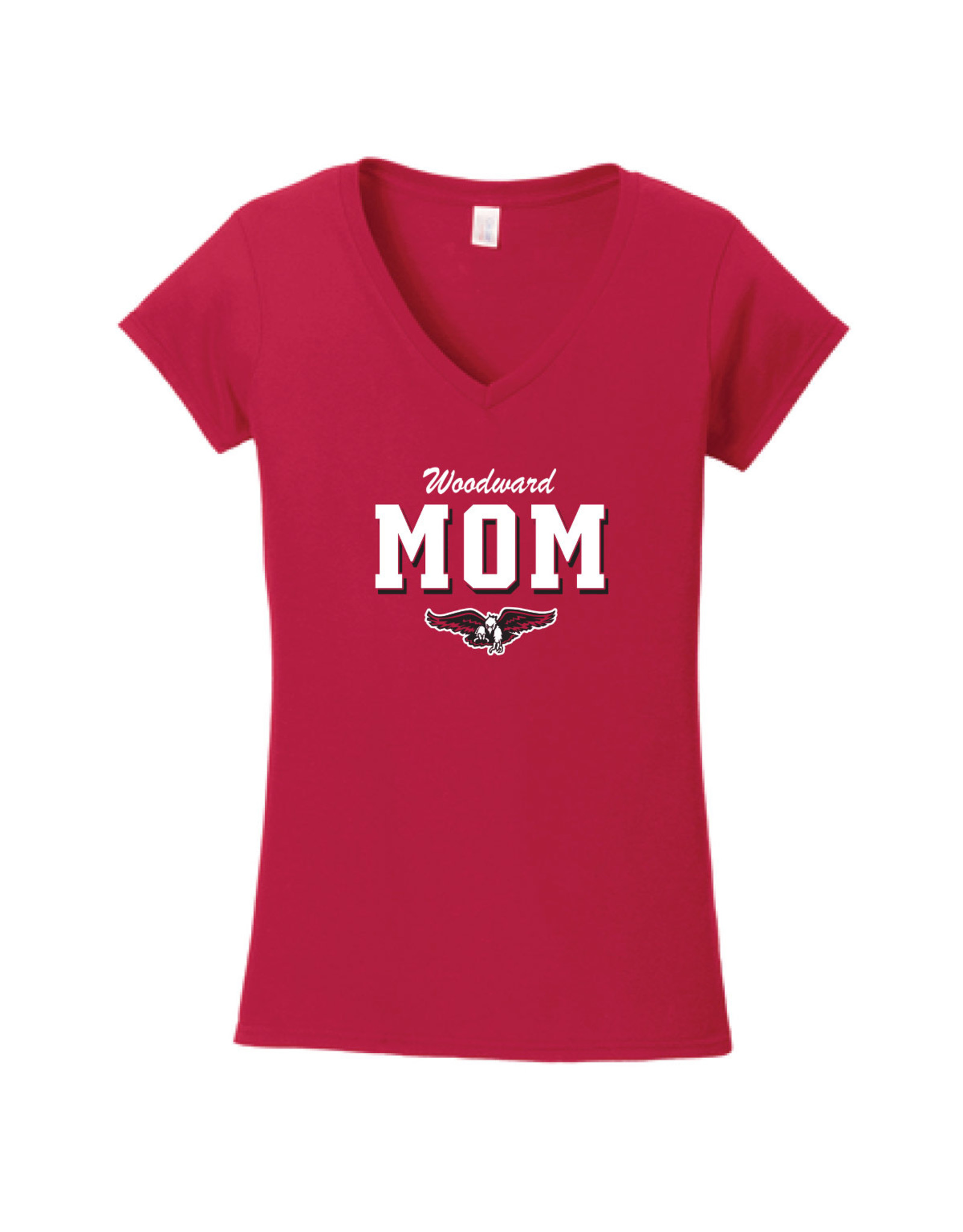 Ouray Woodward Mom V-Neck SS Tee in Red